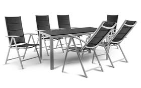 Zestaw mebli ogrodowych Pola stół + 6 krzeseł rozkładanych aluminium