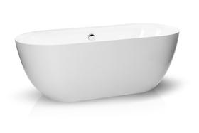 Wanna wolnostojąca 170 x 75 cm biała owalna akrylowa + syfon BARI