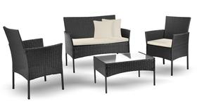 Zestaw kawowy Natalia Czarny sofa 2 fotele stolik kawowy