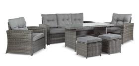 Meble ogrodowe KARA Sofa 2 technorattan sofa 2 fotele 2 pufy stół komplet mebli wypoczynek