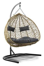 Fotel wiszący 2 osobowy Lilia natura/jasnoszary/antracytowy