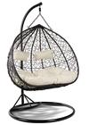 Fotel wiszący do salonu Lila 2 Pro czarny stelaż czarny kosz poduszka ecru (1)