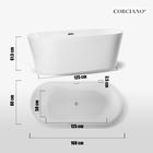 Wanna wolnostojąca biała akrylowa 170 x 80 cm system przelewowy owalna Comfort (10)