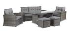 Meble ogrodowe KARA Sofa 2 technorattan sofa 2 fotele 2 pufy stół komplet mebli wypoczynek (1)